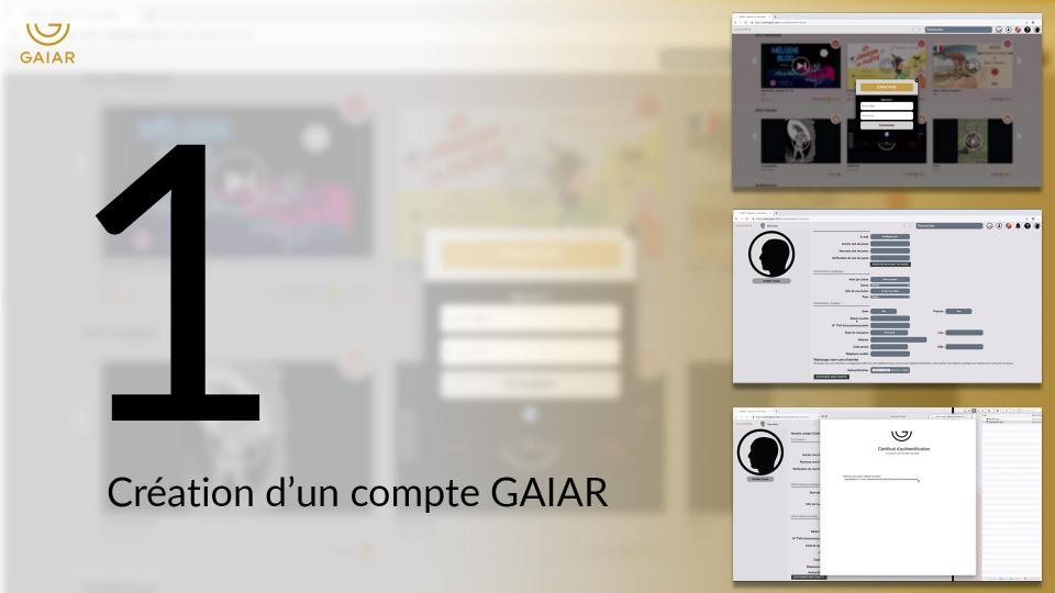 01 - Création d'un compte GAIAR